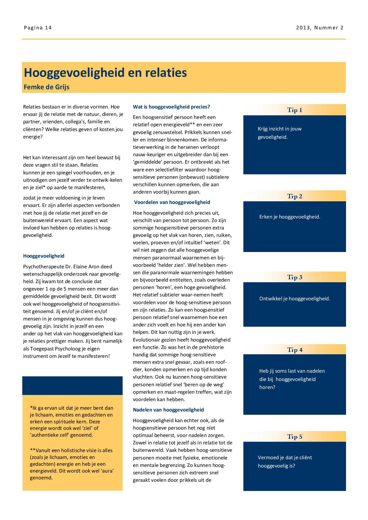 online magazine NBTP thema relaties: over hooggevoeligheid en relaties door Femke de Grijs blz. 1
