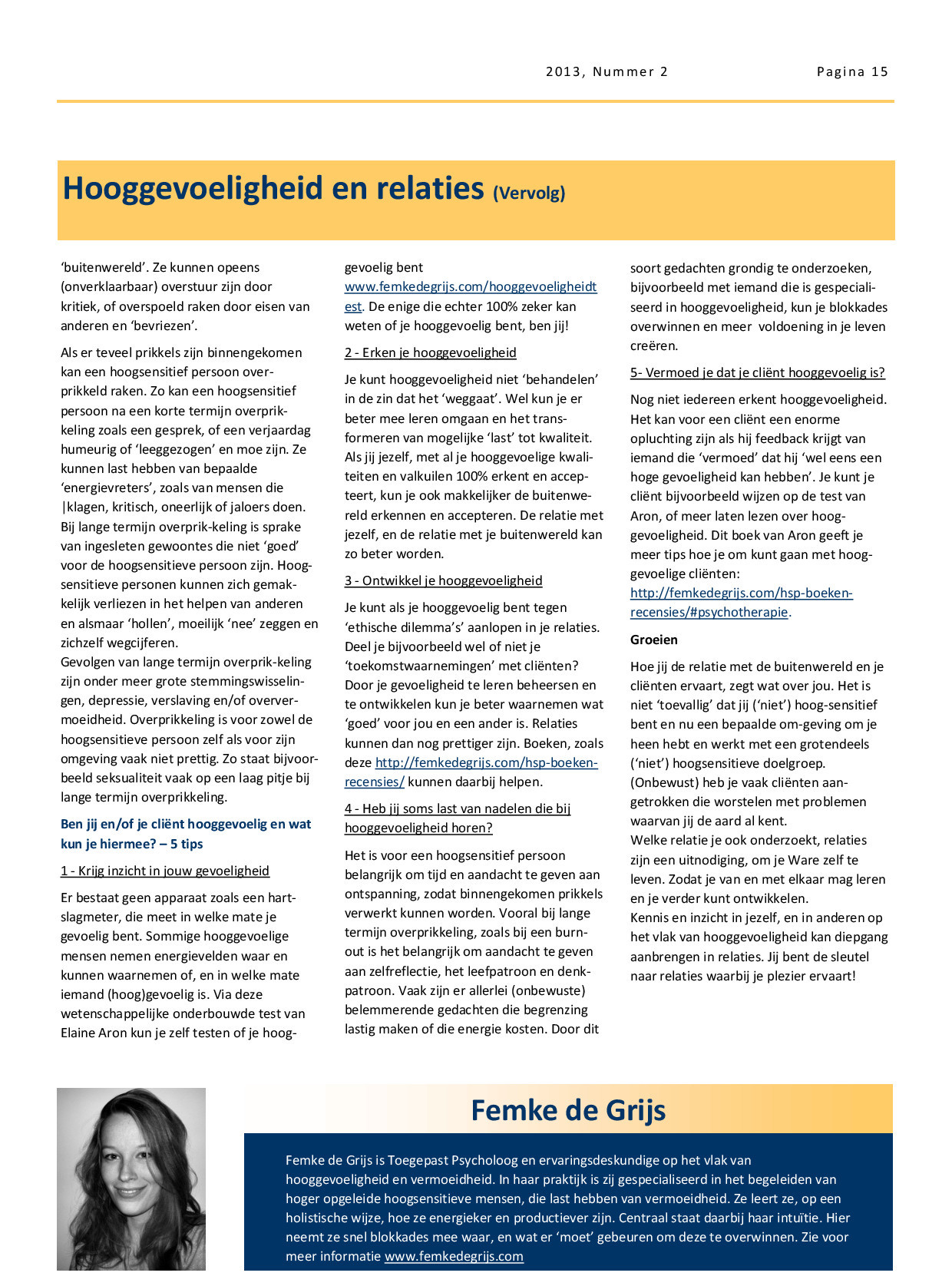 online magazine NBTP thema relaties: over hooggevoeligheid en relaties door Femke de Grijs blz. 2
